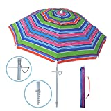 YATIO---7ft Beach Umbrella with Sand Anchor Sand Screw, Tilt, Windproof, Sun Protection SPF/UPF100+, Multi-color stripe
