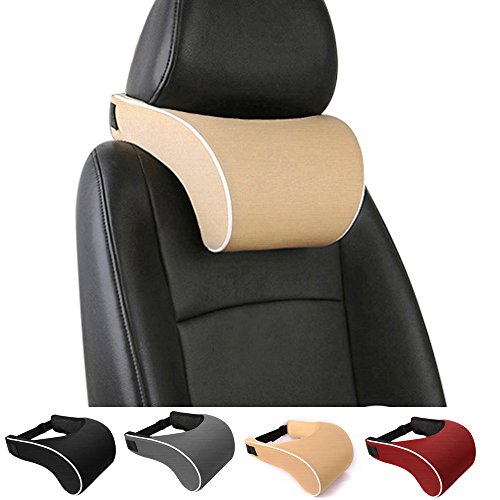 Anyshock-Car-Headrest-Pillow-Memory-Foam-Car-Neck-Pillow-Support-Travel-Auto-Head-Neck-Rest-Cushion-with-Ergonomically-for-Adjust-Sitting-Position-Relief-Pain-of-Back-Spine-Coccyx-Beige