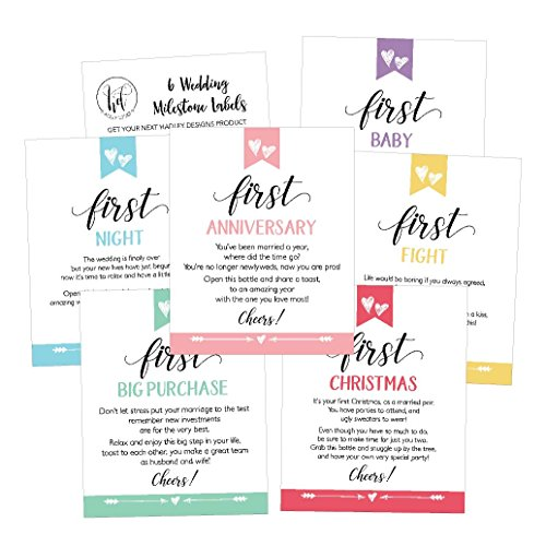6 Cute Wedding Milestones Gift Wine Bottle Labels or Sticker Covers, Bridal Shower, Bachelorette Engagement Party Present, Perfect Best Registry For Bride To Be, Firsts For The Newlywed Couple Ideas
