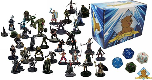 20 Assorted D&D Dungeons and Dragons Miniature Figures with 5 D20 Dice! Includes Golden Groundhog Storage Box!
