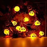 H+K+L Halloween Party Ghost Festival Pumpkin Solar Energy Environmentally-Friendly String Light, 2.5m 10pcs LED Lantern Decoration Lights (Yellow)