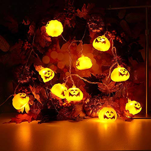 H+K+L Halloween Party Ghost Festival Pumpkin LED String Lights 2.5m with 20pcs LED, Battery Control Lantern String Decoration (Yellow) by H+K+L