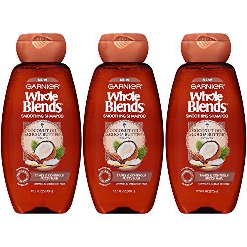 Garnier Hair Care Whole Blends Smoothing Shampoo with Coconut Oil & Cocoa Butter Extracts for Frizzy Hair, 3 Count