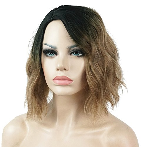 - Aimole Short Wavy Heat Resistant Wig Bob Cuts Hairstyle for Women Light Brown Ombre Synthetic Hair Full Wigs
