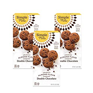 Simple Mills Almond Flour Double Chocolate Chip Cookies, Gluten Free and Delicious Crunchy Cookies, Organic Coconut Oil, Good for Snacks, Made with whole foods, 3 Count (Packaging May Vary)