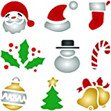 Christmas Designs Stencil - 6.5 x 6.5 inch (M) - Reusable Kids DIY Christmas Card Stencil Template - Use on Paper Projects Scrapbook Bullet Journal Walls Floors Fabric Furniture Glass Wood etc.