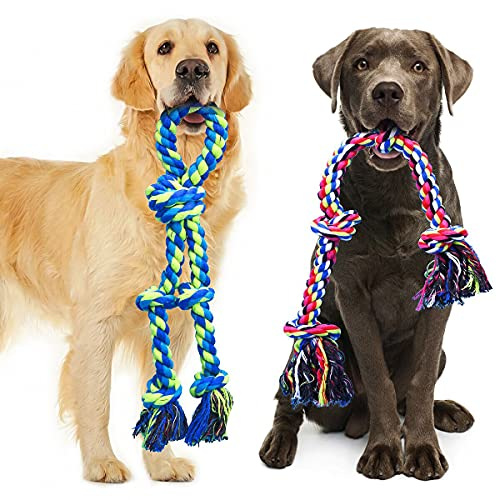 Feeko Dog Rope Toys for Large and Medium Aggressive Chewers, 2 Pack Heavy Duty XL Dog Rope Toy for Large Breed, Indestructible Dog Chew Toys, Tug of War Dog Toy, 100% Cotton Teeth Cleaning