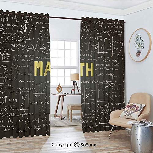 Thermal Insulated Blackout Patio Door Drapery,Dark Blackboard Word Math Equations Geometry Axis Decorative Room Divider Curtains,2 Panel Set,100
