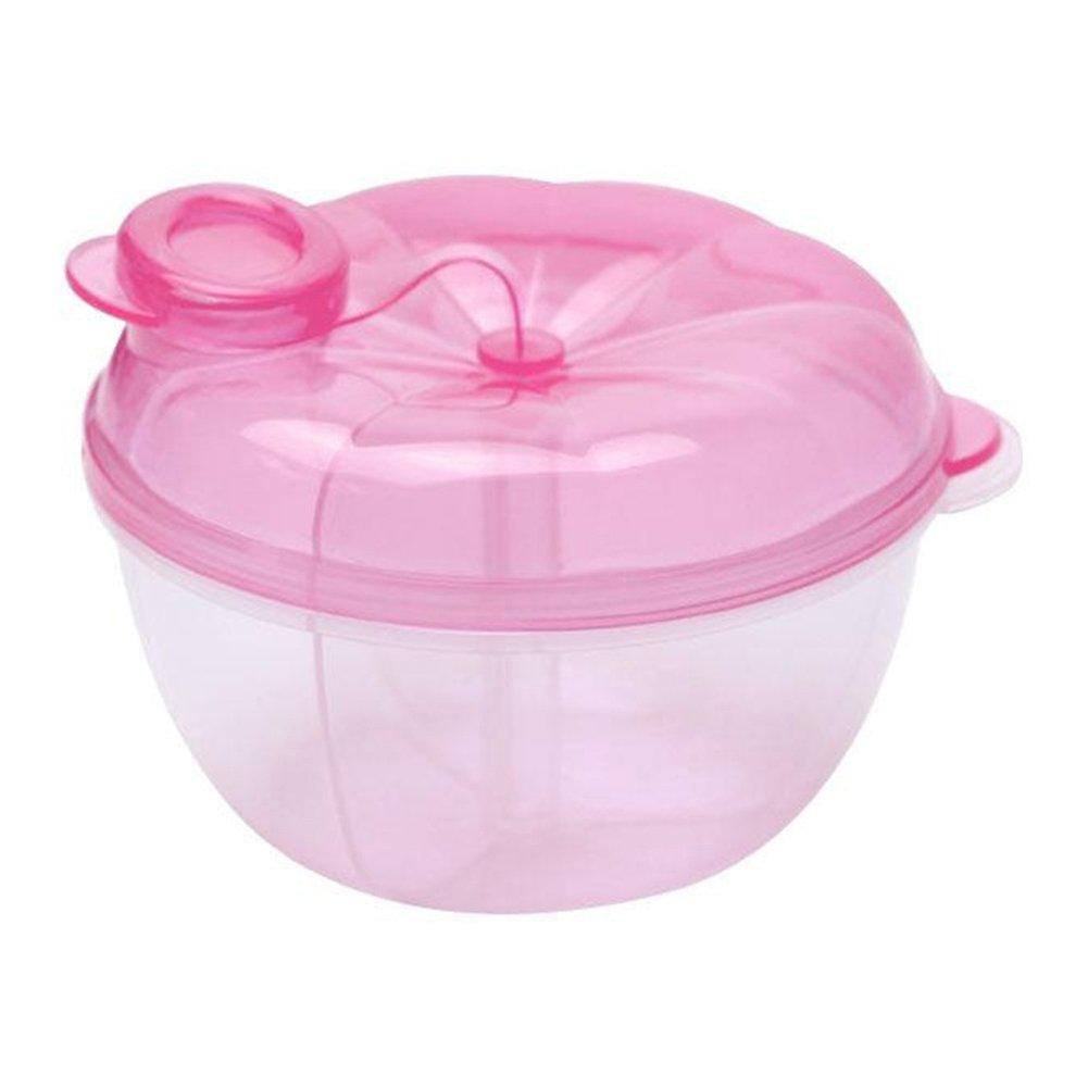 3 Interlayer Dispenser Food Storage Snack Container Baby Feeding Travel Milk Powder Box Food Bottle Container size Pumpkin (Pink)