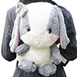 TOLLION Plush Stuffed Animal Backpack Bow Rabbit Lop Bunny Doll Backpack With Adjustable Shoulder Strap Best Gift For Women And Girls (Gray White)
