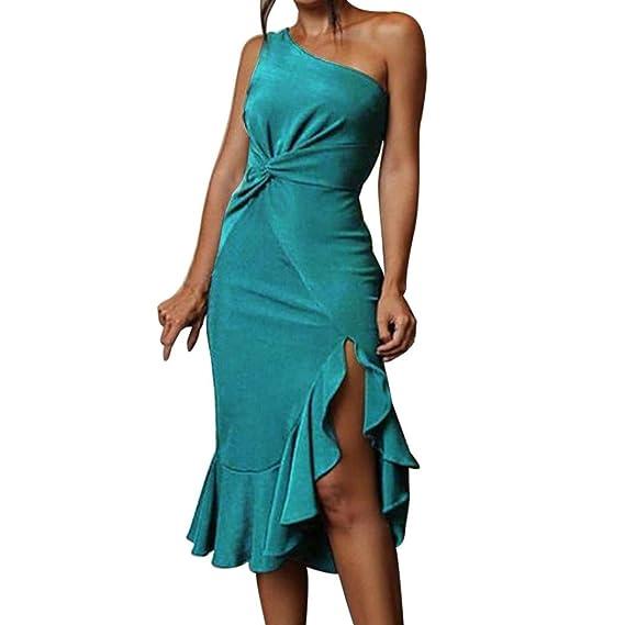 JYC Verano Falda Larga, Vestido De La Camiseta Encaje, Vestido Elegante Casual, Vestido Fiesta Mujer Largo Boda, Puro Color Soltero Hombro Volantes ...