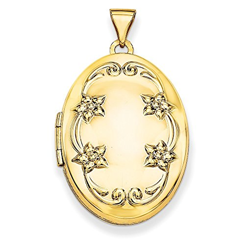 14k Yellow Gold 26mm Oval Floral Scroll Border Locket ()