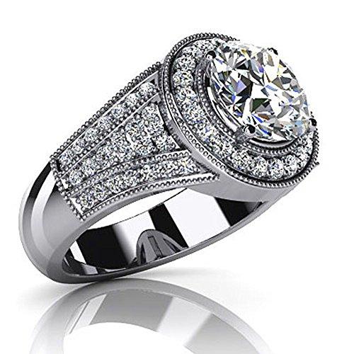 14K Or blanc en cascade Diamant Bague de fiançailles