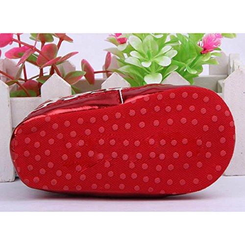 13cm Chaussures d'Enfant de Léopard Comfortable avec Lacet Fafiot pour 3-12 Mois Fille(Rouge)