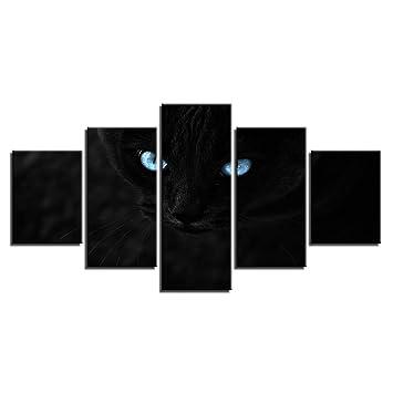 YCOLLC Bodegón Pintura De La Lona HD Impreso 5 Unidades Negro Gatos Ojos Azules Marco De Fotos para La Sala De Arte De La Pared Modular Poster Decoración: ...