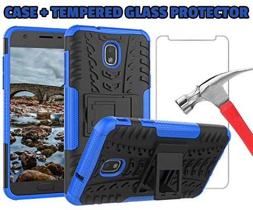J7 V 2nd Gen Case, J7 2018 Cases, SM-J737V, J7 Refine, Samsung Galaxy J7 Aero, Protection Bumper for Samsung Galaxy J7 2018 (Blue Case + Tempered Glass Protector)