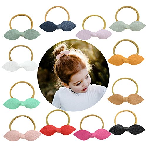 - Baby Bows and Headbands Nylon Headbands Hair Bows for Girls Newborn Toddler and Childrens (12pcs Rabbit Ears Bow)