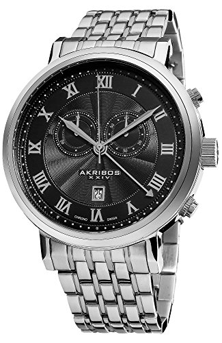 Akribos XXIV Men's AK590SSB Swiss Chronograph Stainless Steel Bracelet Watch