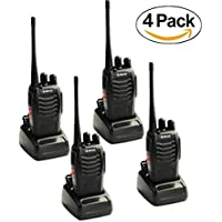 Rechargeable Walkie Talkies for Kids & Adults Amerteur Two Way Radios Galwad 888S 16CH Signal Band UHF 400-470 MHz Long Range Radios Headset Built in LED Torch Hiking Hunting (4 Pack of Radios)