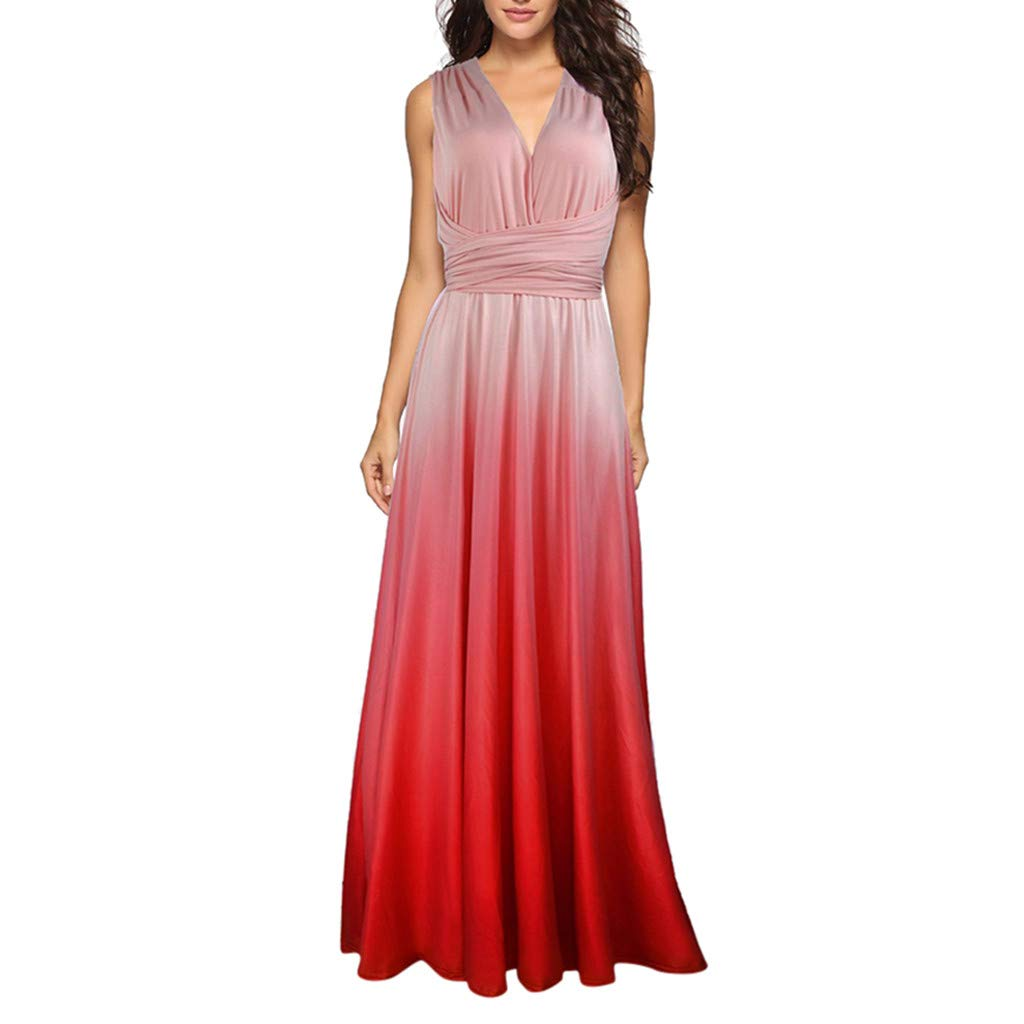 Tantisy ♣↭♣ Women's Backless Gown Dress Multi-Way Wrap Halter Cocktail Dress Bandage Bridesmaid Long Dress/Multicolor Pink