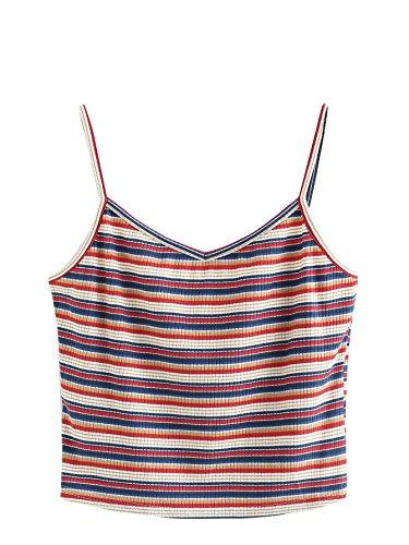 SweatyRocks Women's Sexy Spaghetti Strap Striped Crop Top Ribbed Knit Cami Top (Medium, Striped_Red)