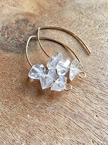 Gold Herkimer Diamond Earrings April Birthstone Jewelry