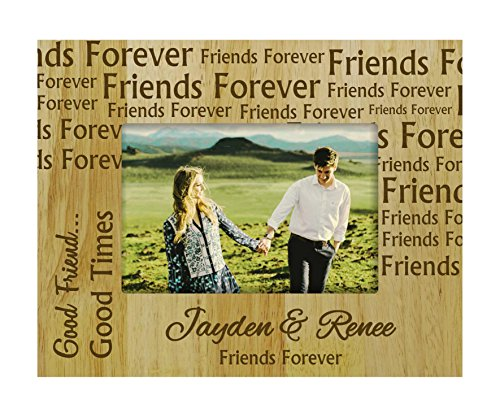 Darling Souvenir Personalized Friends Forever Engraved Wood Picture Frame with Names - 5 x 7 Inches Horizontal Friendship Day Gift