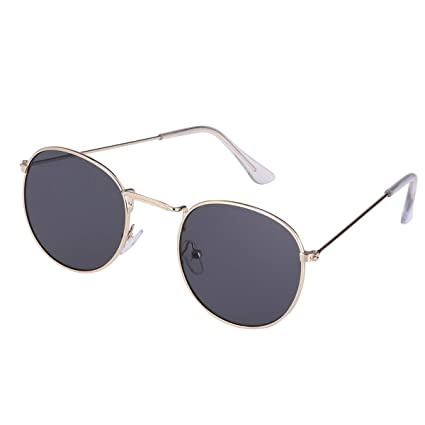 6cd056318e FENICAL Fashion Round Sunglasses Women Men Retro Eyewear Metal Frame Circle  Glasses (Gold Frame Gray Lens)  Amazon.in  Home   Kitchen