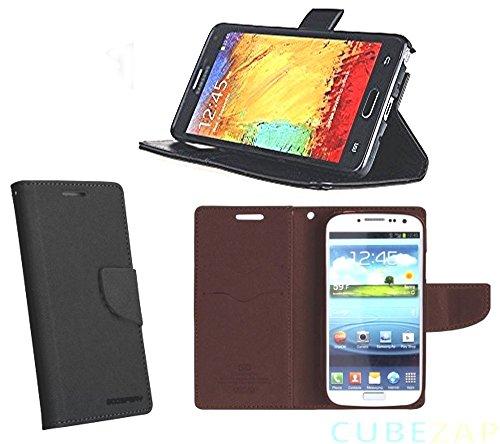 bestbuy-24 Flip-case bookstyle fancy mercury mit holder-Funktion für smartphone handy Samsung Galaxy-A3 2017 (A320), Hülle Etui Magnetverschluß, schwarz
