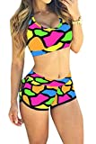Top Here Women's 2017 Bandage Sporty Bathing Suit Boyleg Short Bikini Swimming Suit