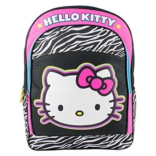 Sanrio Hello Kitty Backpack 16' Large School Backpack-Zebra - Zebra Kitty Hello Print