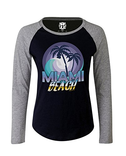 Ladies Raglan Baseball T Shirt MIAMI BEACH Retro Gift Womens Fashion by Buzz - Beach Miami Women Of