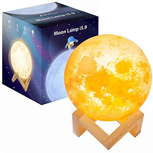 Moon Lamp Moon Light Night Light for Kids Gift for Women USB Charging and Touch Control Brightness 3D Printed Warm and Cool White Lunar Lamp (5.9in)