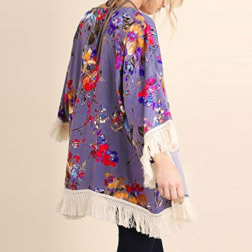 NUWFOR Womens Three Quarter Sleeve Floral Printed Shawl Tassel Kimono Cover Up Cardigan(Purple,L) by NUWFOR (Image #2)