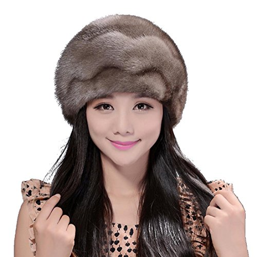 Women's Mink Fur Waves Roller Hat with Mink Top (One Size, Gray) by Starway0311