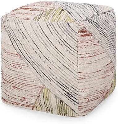 Christopher Knight Home Brianna Traditional Hand-Woven Boho Fabric Cube Pouf