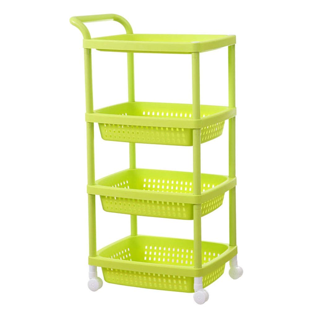 Green Green Plastic Storage Cart with Pulley with Handle Racks 3 Layers Beauty Shop Nail Shop Tool Storage Rack (color   Pink)