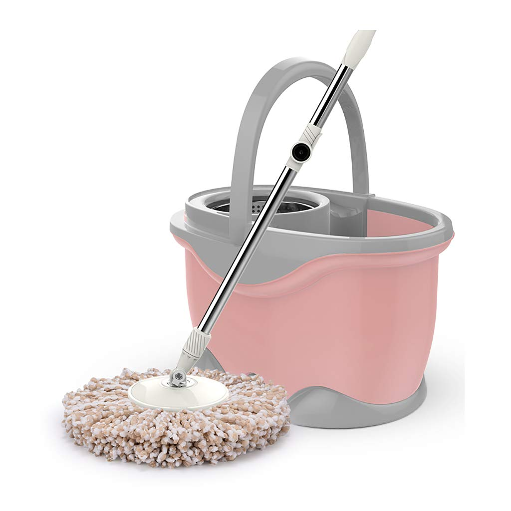 モップバケツホームフリーハンド洗濯ロータリーモップモップ自動ステンレススチールモップセットモップドライウェットステンレススチールトレイ (色 : Pink, サイズ さいず : Mop head1) B07MSH5DRP Pink Mop head1