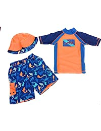 Uv Skinz Boys' 3-piece Swim Set, UPF 50+ Sun Protection Orange Navy Shark 7