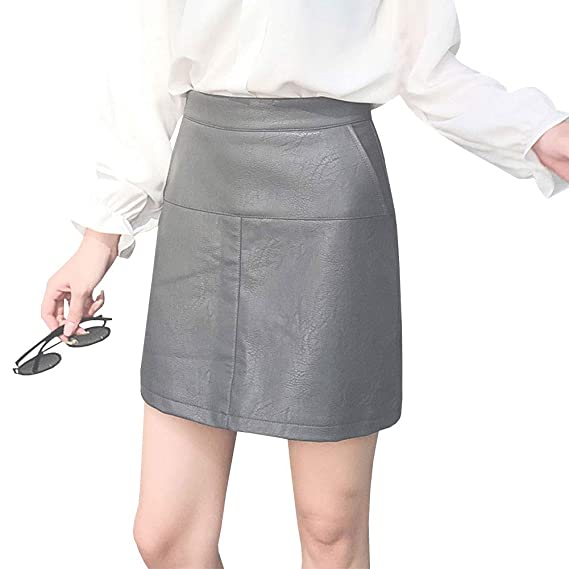 LPATTERN Mini Falda de Cuero de Imitación Elegante para Mujer con ...