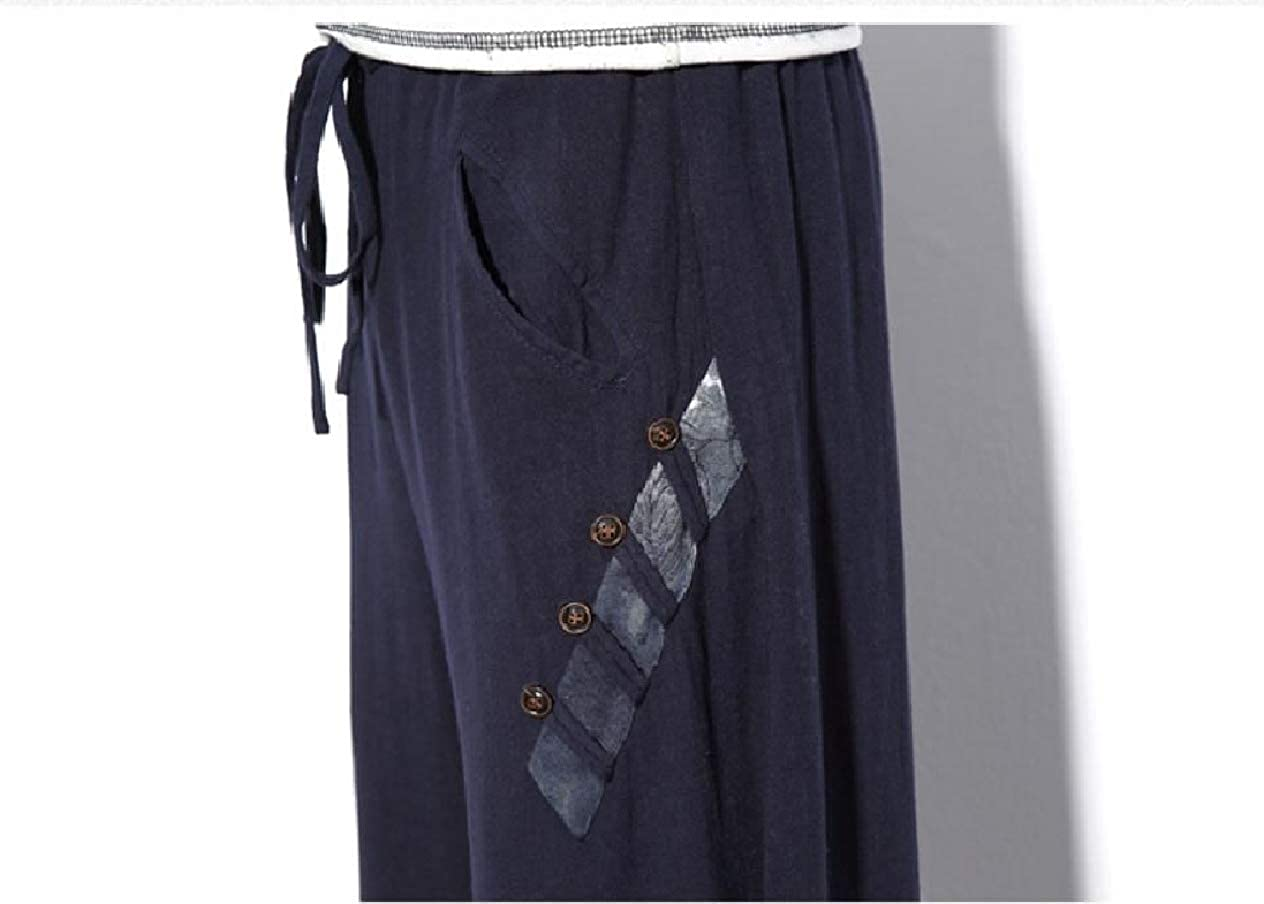 Winwinus Mens Big Tall Harem Baggy Wide Leg Stitch Elastic Waist Pants