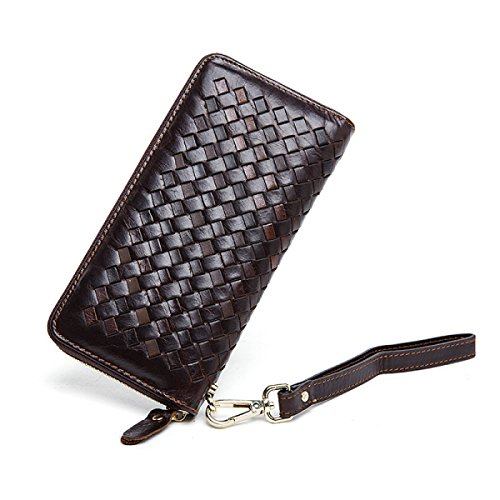 Leather Card Bag Genuine Wallet Case Woven Brown Long Vintage Clutch Brown BXfqd