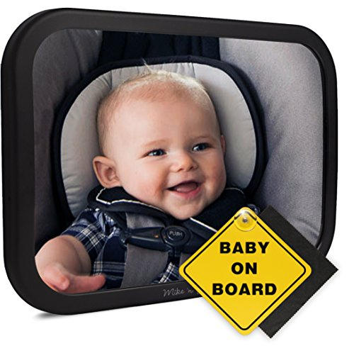 Back Seat Headrest (Mike 'n Jack ULTRA STABLE Rear Facing Car Seat Mirror | Largest Wide Angle Baby Car Mirror For Fixed Headrest | Safety Crash Tested | Fully Adjustable | Shatterproof Backseat Baby Mirror)
