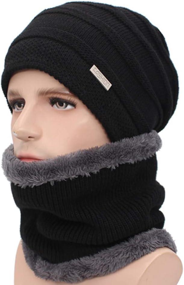 JKFXMN Gorro De Punto Moda Unisex Skullies Capucha Bufandas Sombrero De Invierno Cálido Gorro Grueso para Hombre Negro