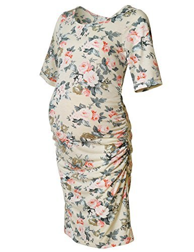 Maternity Floral Print Dress Short Sleeve Bodycon Ruched Side Knee Length Dress Beige Rose M