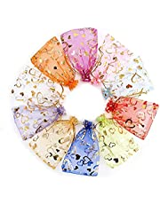 100PCS Organza Bags, Drawseliy Wedding Candy Bags with Drawstring, 4x6 Jewelry Gift Bags for Party, Jewelry, Festival, Bathroom Soaps, Makeup Organza Favor Bags, Favor Present Pouches for Party Wedding Christmas Valentine (Red)