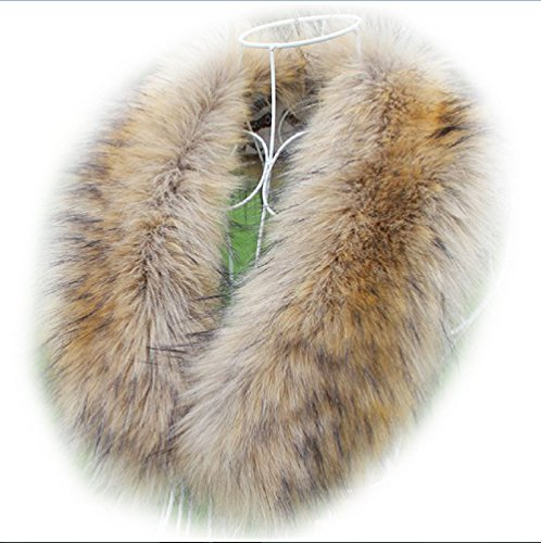 Faux Fur Hood - Women's Faux Raccoon Fur Scarf Scarves Collar Hood Trim Fluffy (3)