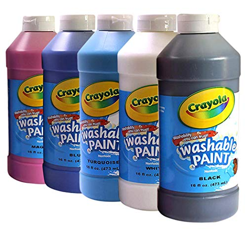 Crayola Washable Nontoxic Paint, 16 Fluid Ounce (Pack of 5)