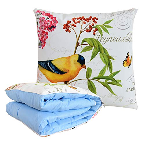 BlueHills Decorative Soft Cozy Couch Pillow Blanket Throw Quilt for Home Airplane Car Travel Movies Kids Beach Camping Blanket 63x43 inches Pillow 16X16 inches in one Home Décor-Yellow Bird-A008