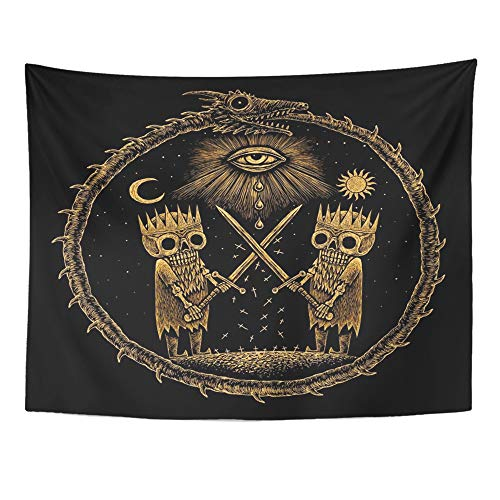 Emvency Tapestry Artwork Wall Hanging War of Kings Two Skeleton Warring Sword Against The God's Eye on Ancient Dragon 60x80 Inches Tapestries Mattress Tablecloth Curtain Home Decor Print